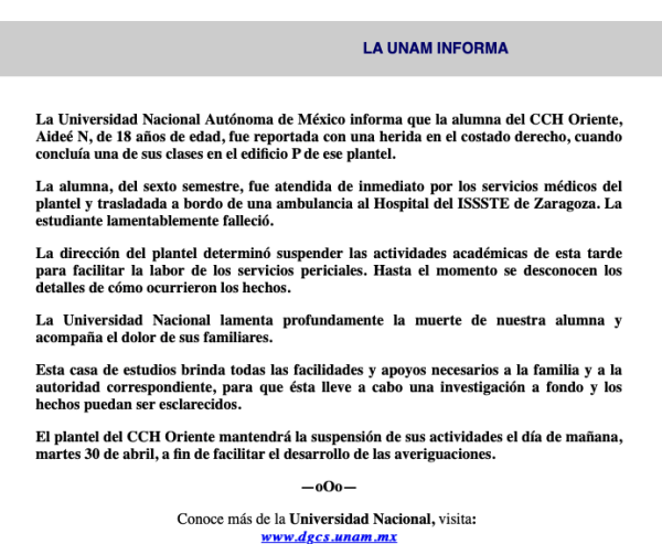 Comunicado UNAM sobre muerte en CCH Oriente