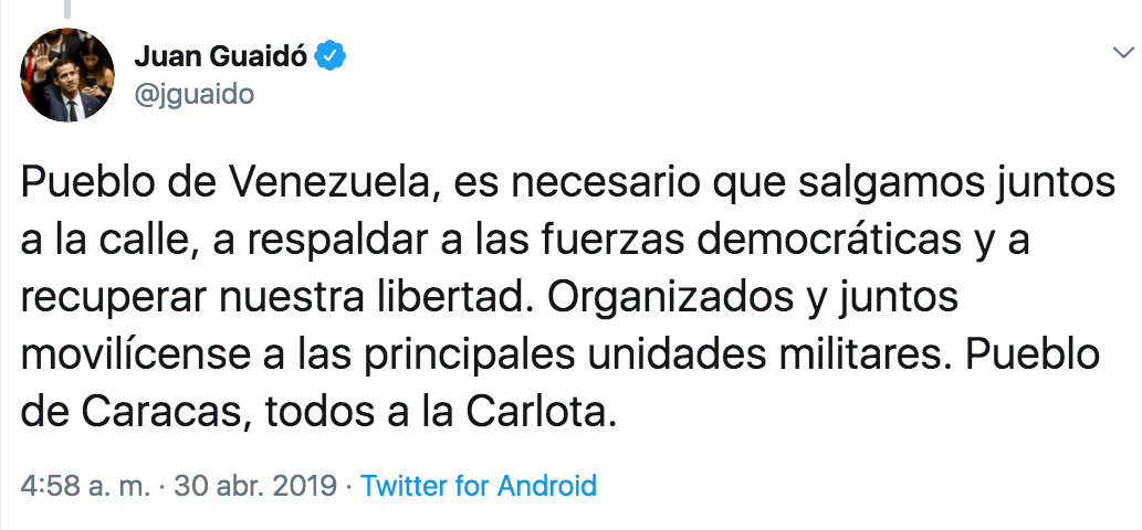 Guaidó invita a la ciudadanía a tomar las calles. Imagen:Twitter.