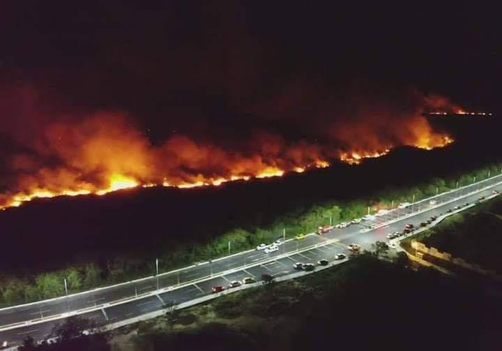 Incendio forestal en Campeche. Imagen:Twitter.