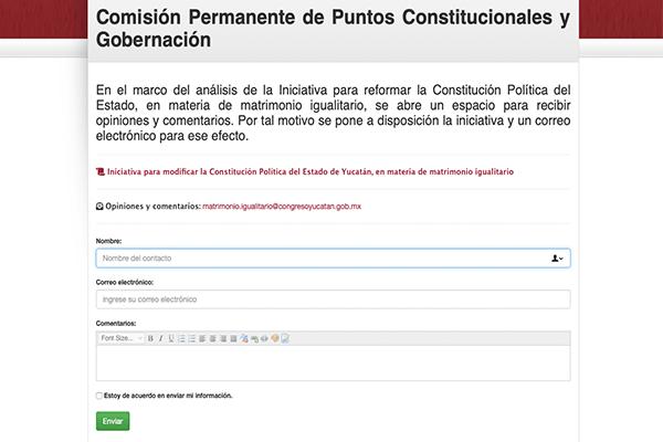 """Página del Congreso de Yucatán que abrió """"comentarios"""" para reforma LGBT"""