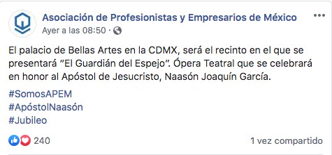 Publicación de asociación evangélica sobre evento en Bellas Artes
