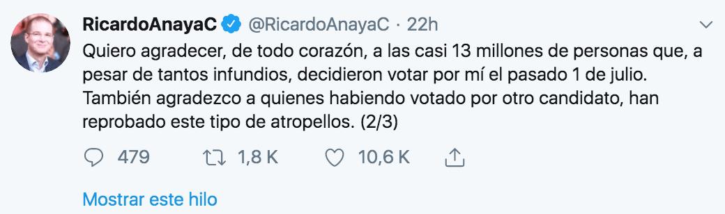 Agradecimientos de Ricardo Anaya