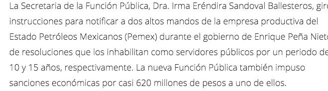 Sanción de la SFP por mal uso de recursos y omisión de cuentas bancarias.