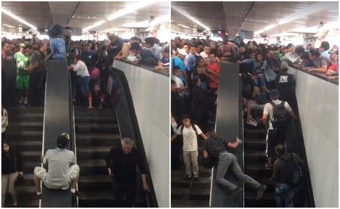 Mujeres caen en escaleras del metro de la CDMX