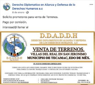 Página de asociación civil señalada en denuncia de presunto plagiario de Ecatepec