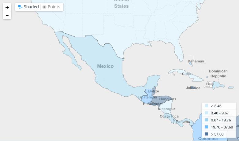 Mapa de tasa de homicidios, Oficina contra Drogas y Delincuencia, ONU