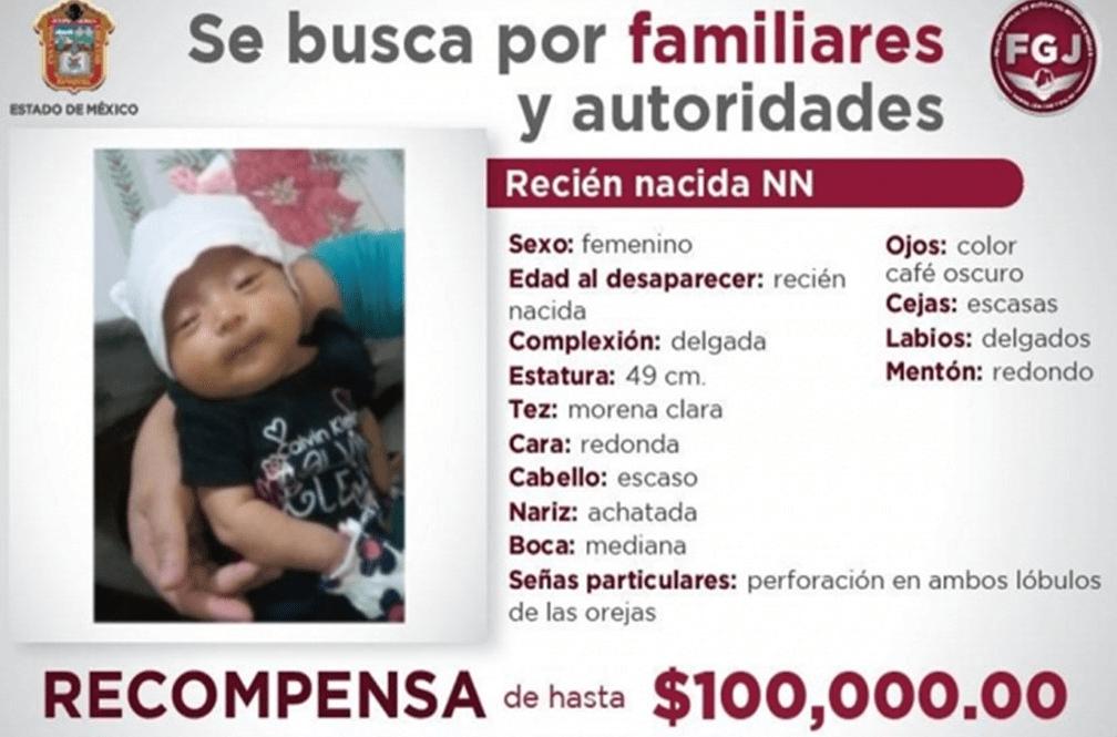 FGJ-Edomex ofreció recompensa para localizar a la bebé secuestrada en Naucalpan
