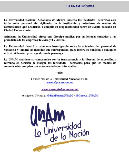 Comunicado de la UNAM disculpándose por el ataque a periodistas