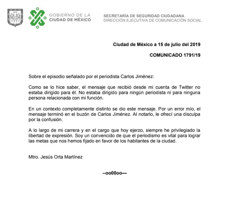 Comunicado de SSC-CDMX por mensaje de Orta a reportero