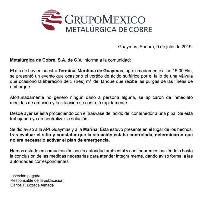 Derrame de 3 mil litros de ácido sulfídrico al mar de Cortés