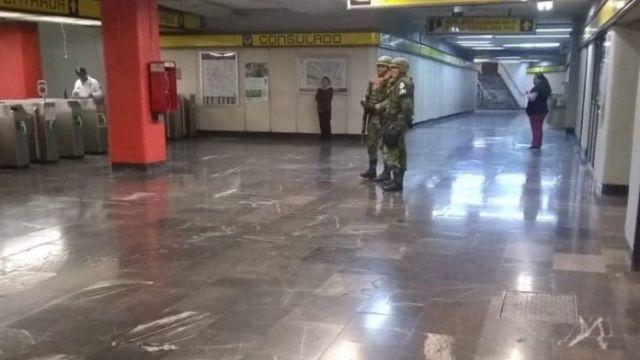 Guardia Nacional en el metro de CDMX