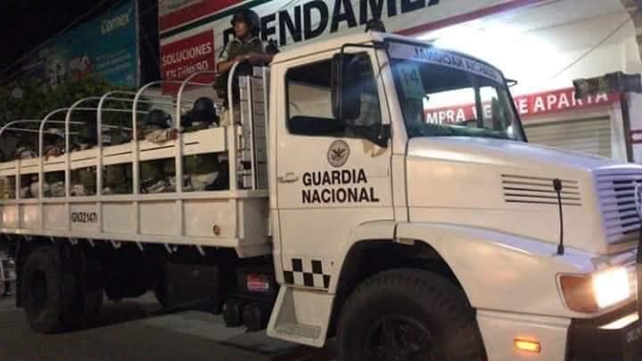 Guardia Nacional llegando a Ciudad Hidalgo, Chiapas