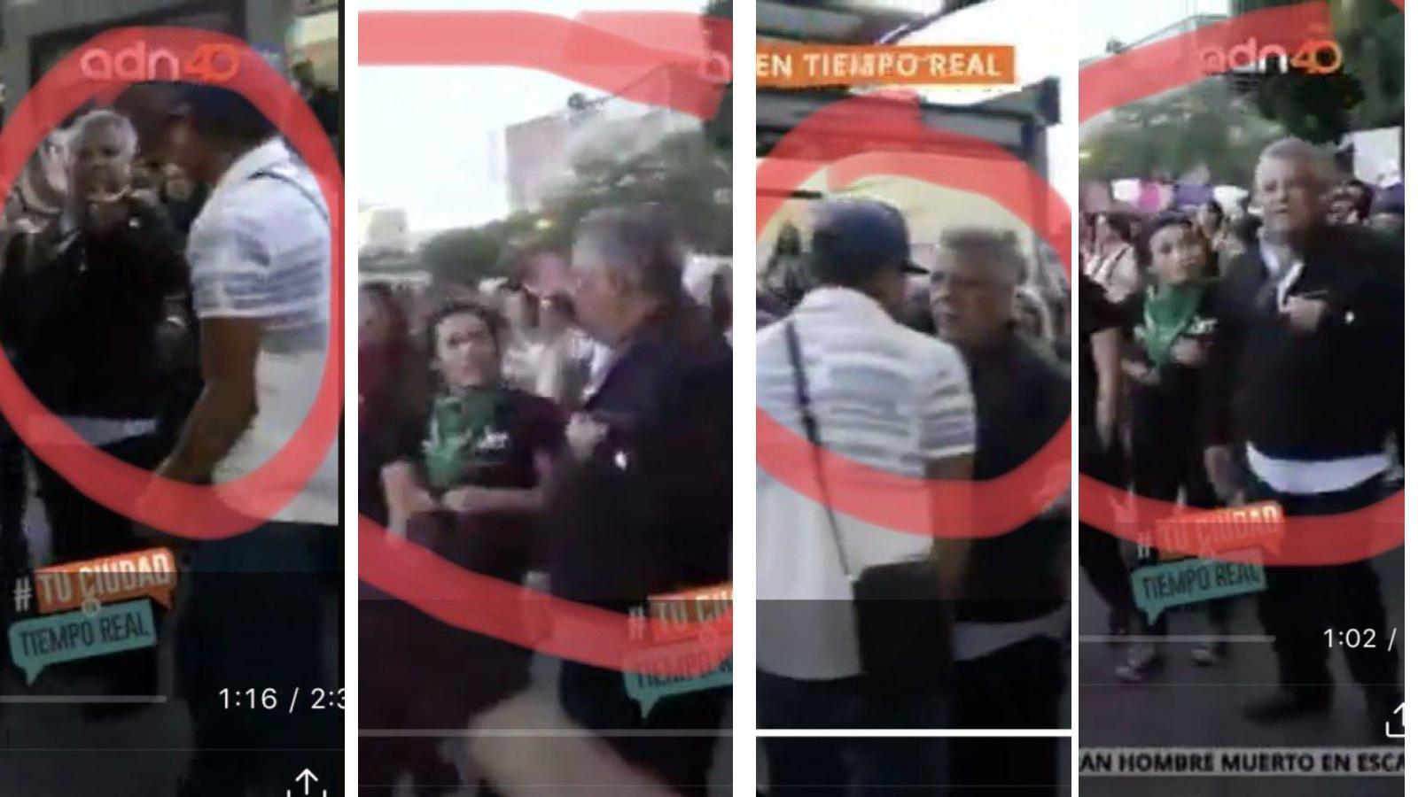 Marcha feminista golpea a reportero en vivo