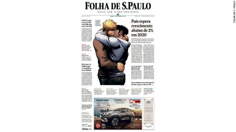 Portada de Folha de Sao Paulo con beso gay