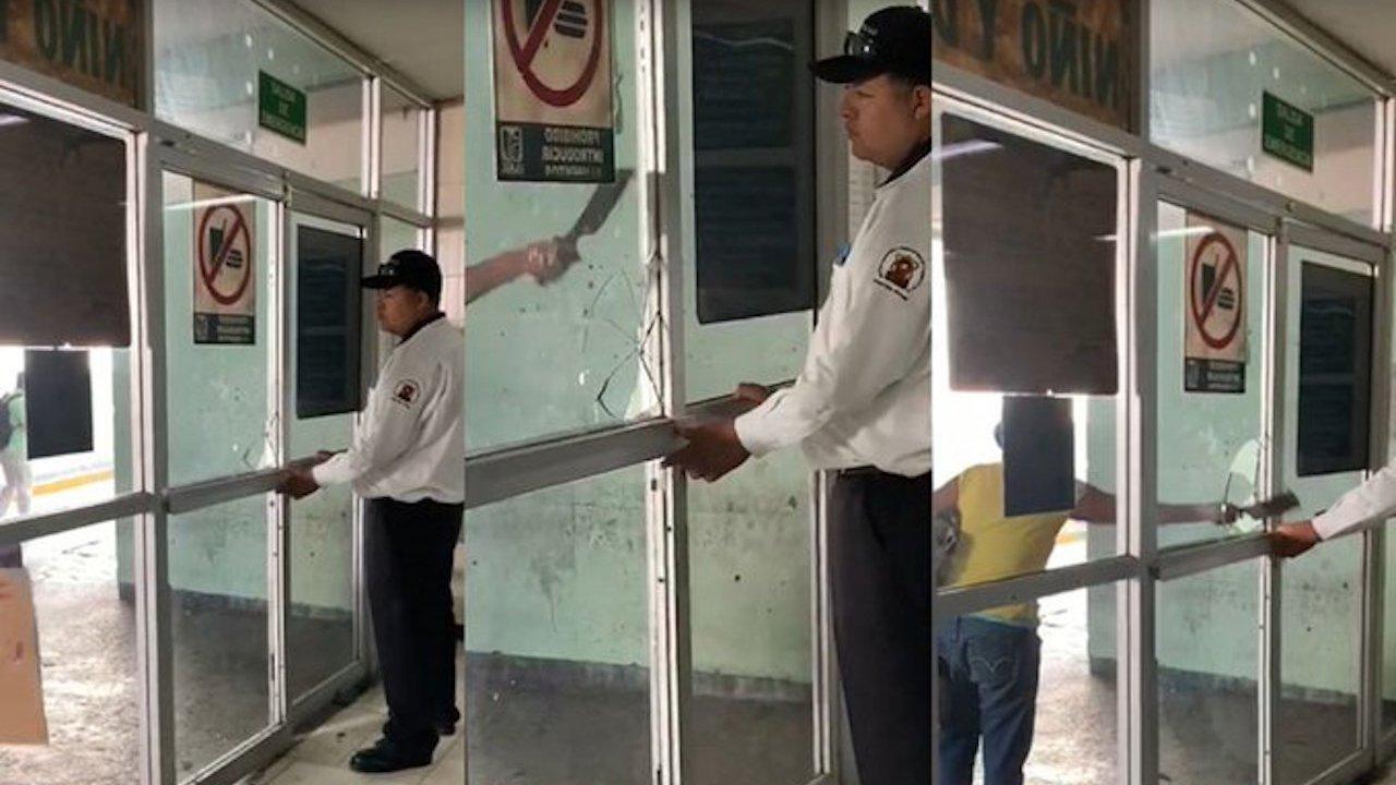 Mujer agredió con un cuchillo de taquero a un guardia del IMSS