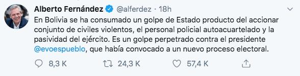 10/11/19 renuncia-Evo-Morales-reacción/ Fernández