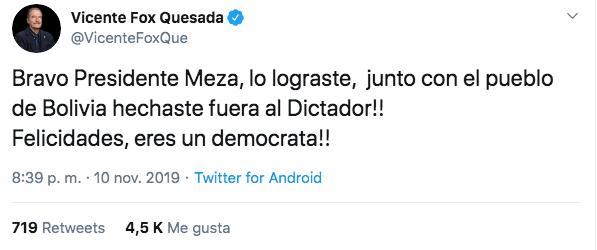 10/11/19 renuncia-Evo-Morales-reacción/ Fox