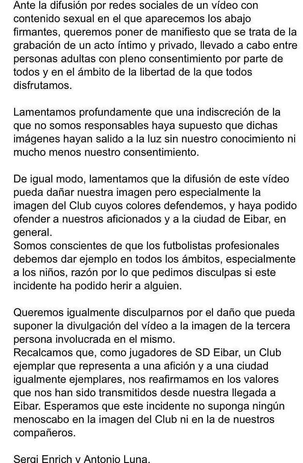 Comunicado de Sergi Enrich y Antonio Luna tras difusión de video sexual
