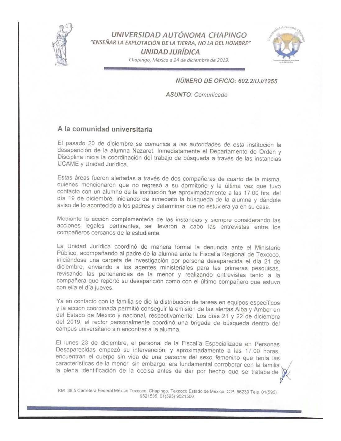 """Comunicado de la Universidad Autonoma de Chapingo sobre la muerte de la alumna de 15 años Nazaret """"N"""""""