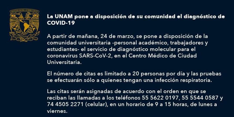 Coronavirus, UNAM, Aplicara Prueba, Alumnos Profesores