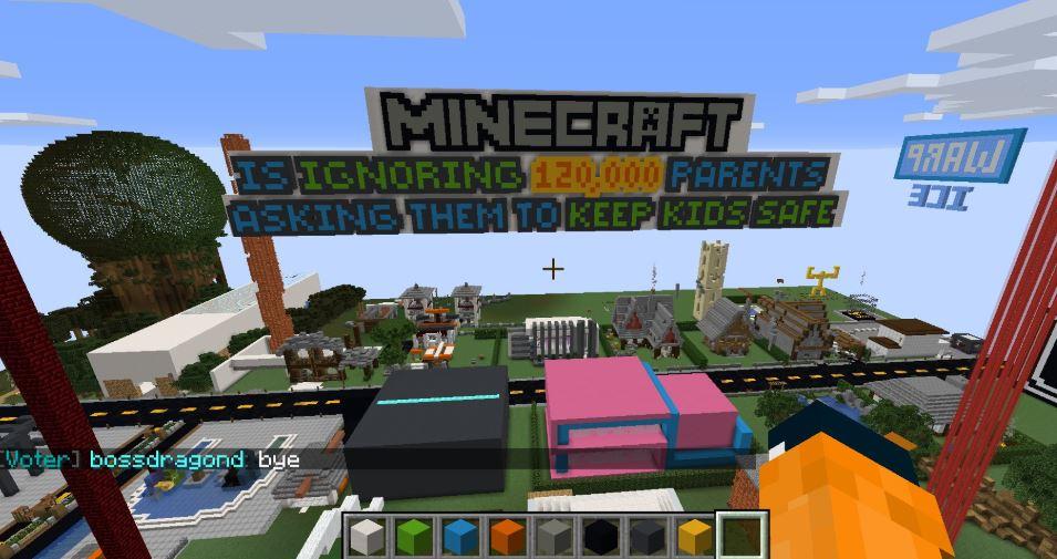 Padres y madres protestan en Minecraft contra depredadores sexuales