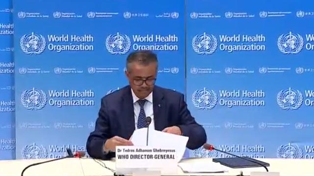 Director General de la OMS informa que la pandemia de coronavirus que causa Covid 19 se está acelerando, Captura de pantalla
