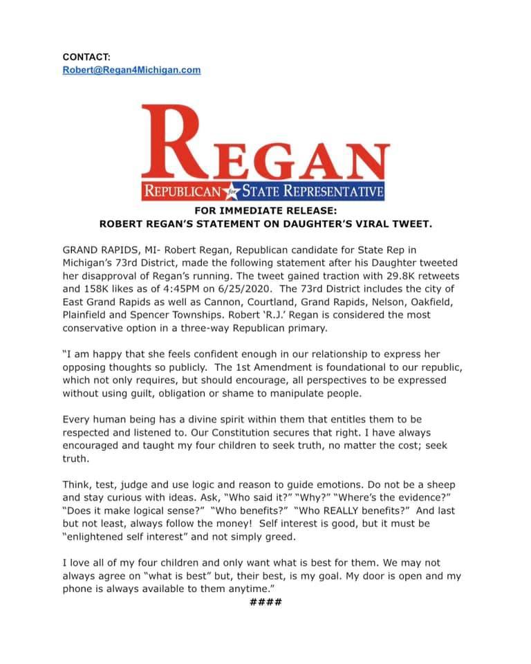 Stephanie Regan, hija del candidato republicano de Michigan, Estados Unidos, se volvió viral por su mensaje en Twitter