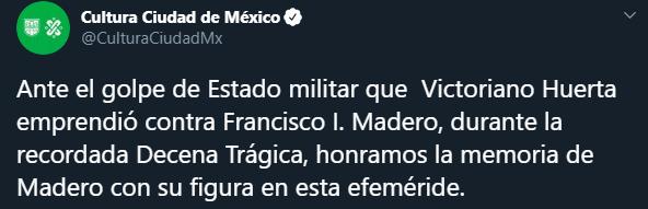 El error de la secretaría de cultura no pasó desapercibido en Twitter, ya que confundió a Victoriano Huerta con Francisco I. Madero, Captura de Pantalla