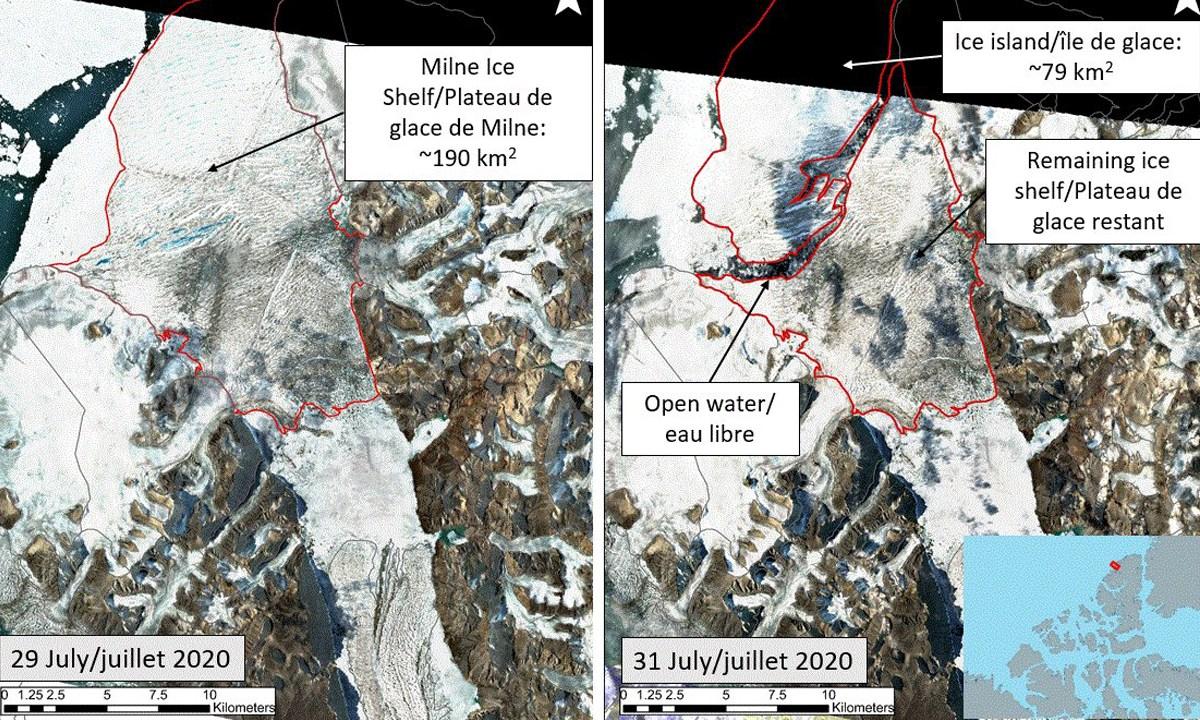 La última plataforma de hielo intacta de Canadá acaba de colapsar, formando un iceberg del tamaño de Manhattan