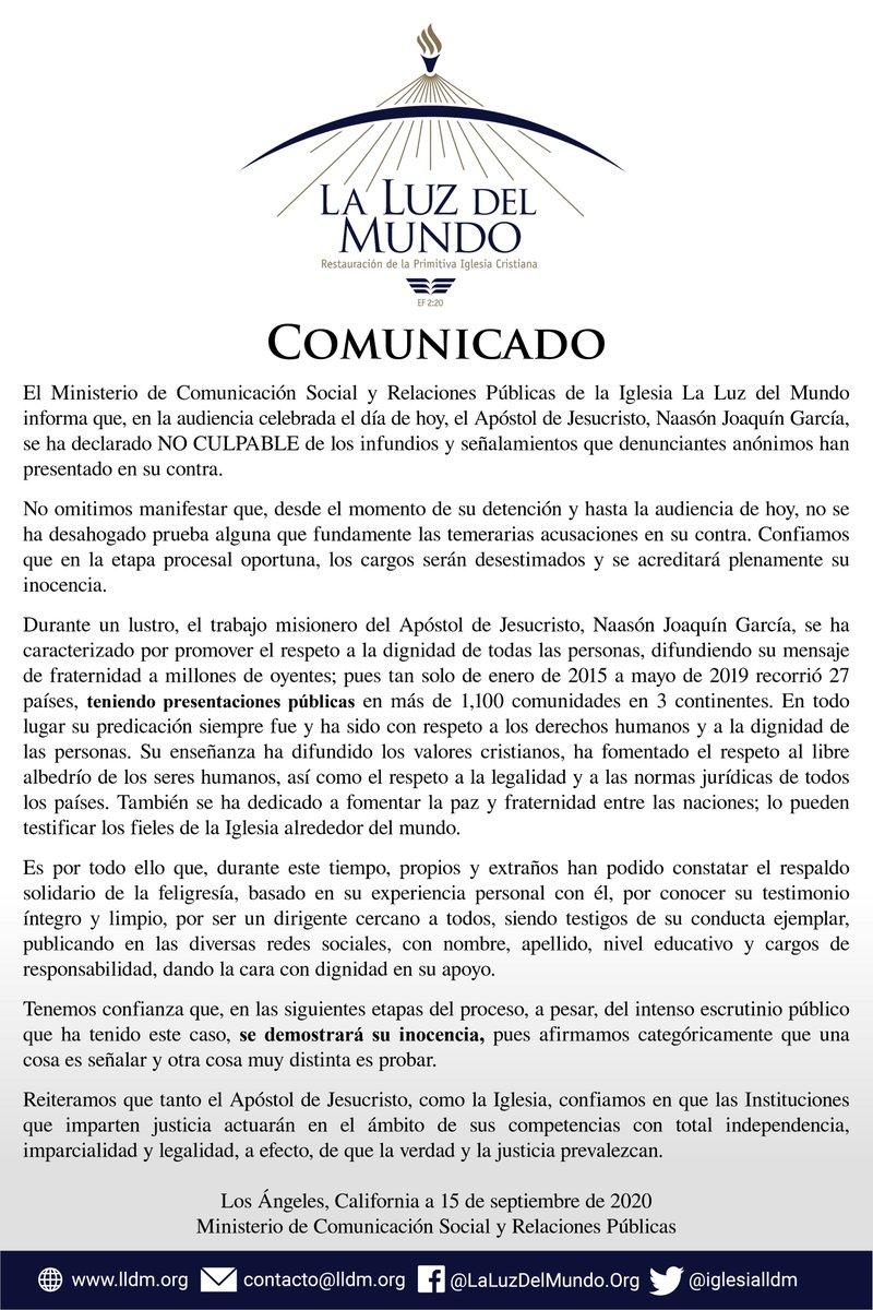 El líder de la iglesia evangélica La Luz del Mundo, Naasón Joaquín García se declaró inocente de múltiples cargos de abuso sexual
