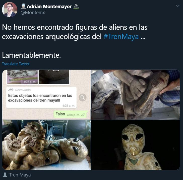 Imágenes de figuras de extraterrestres en excavaciones del Tren Maya se han vuelto virales en WhatsApp pero ya fueron desmentidas por Fonatur