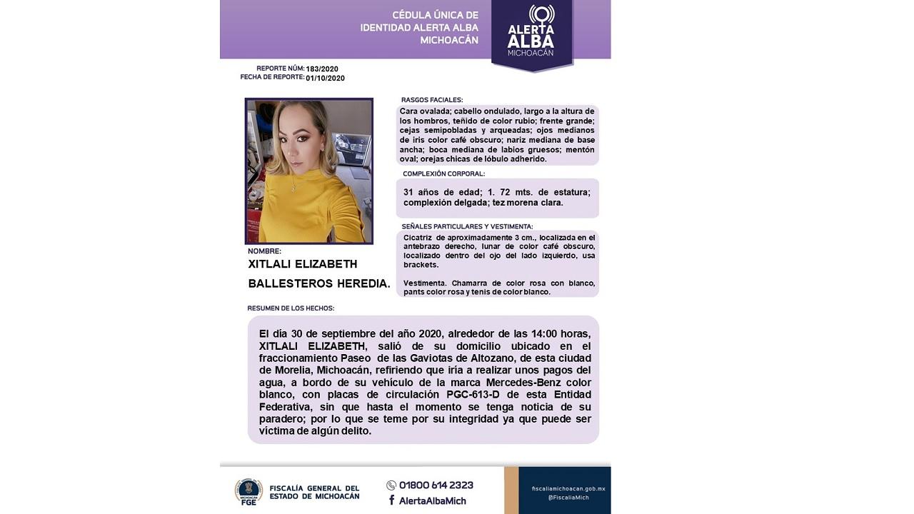 Xitlali desaparecida una semana asesinato Jessica Morelia