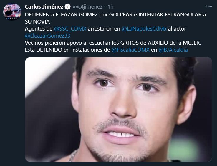 Detienen a Eleazar Gómez por haber intentando estrangular a su pareja luego de que sus vecinos reportaran los gritos de la mujer