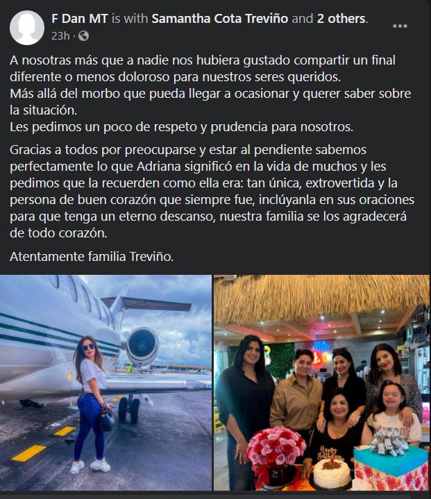 Adriana Murrieta fue encontrada sin vida en las aguas negras de Tlajocomulco, Jalisco. Su familia dio conocer el suceso en redes sociales