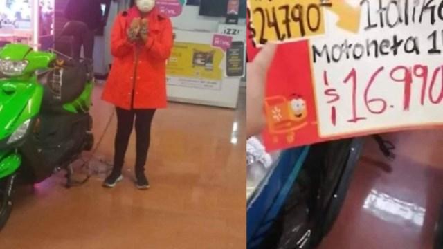 Mujer se encadenó a una moto para que se vendieran en 14 pesos