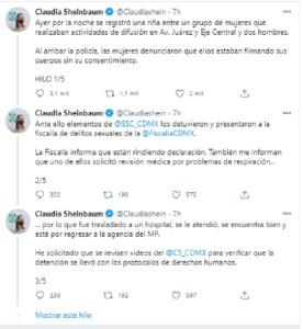 Sheinbaum pide FGJ transparencia y justicia detención youtuber CDMX