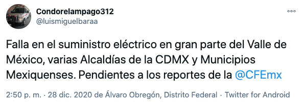 Reportan apagón masivo de luz la CDMX y otros estados