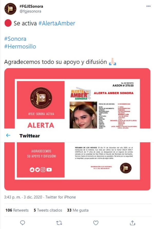 Desaparece Delia Emily en Hermosillo Sonora