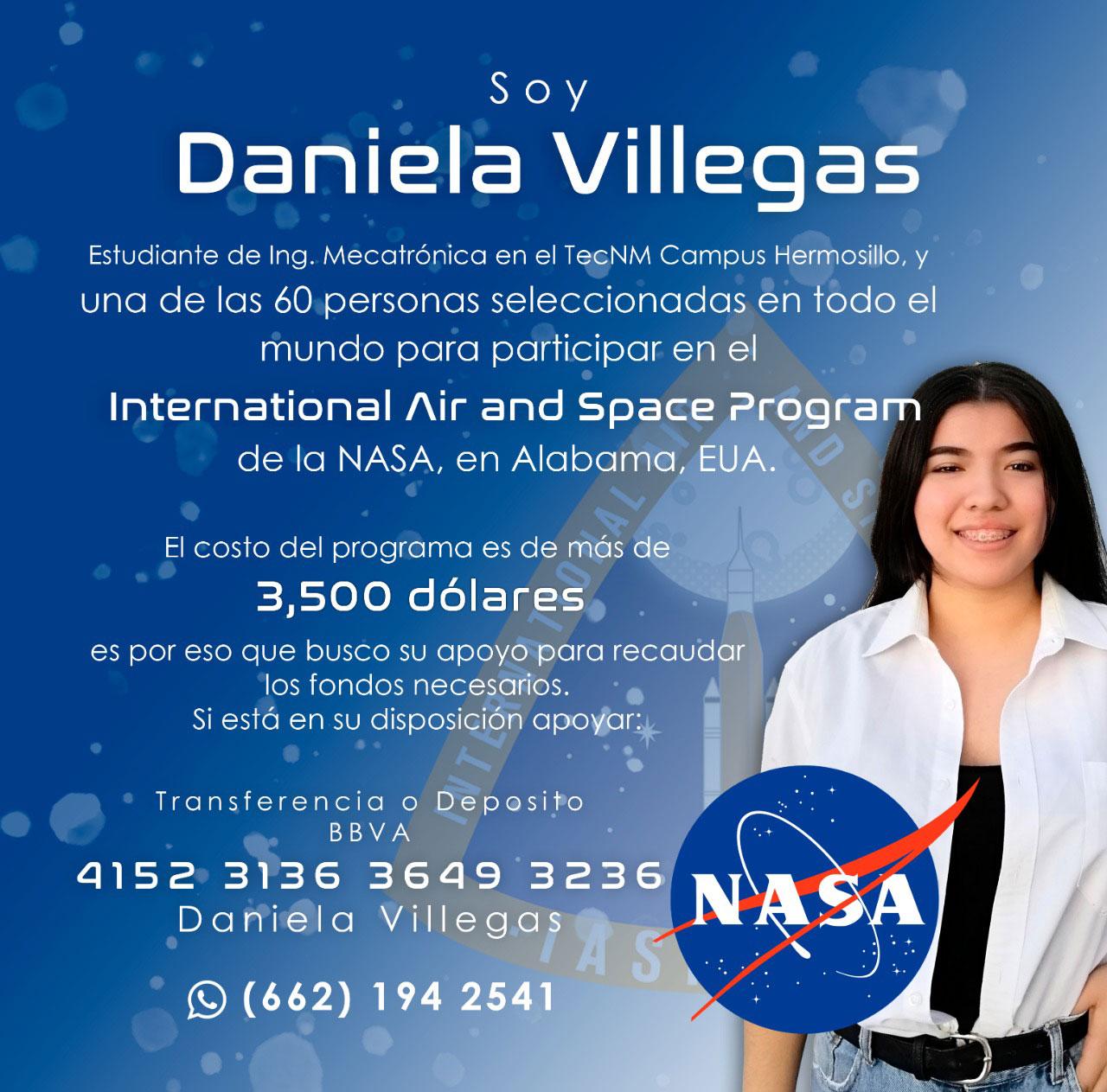 Daniela Villegas es una estudiante mexicana que está solicitando ayuda para poder integrarse al programa de la NASA al que fue seleccionada