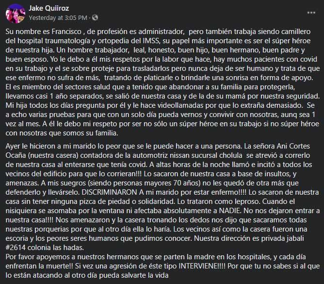 Francisco Cabrera, un camillero del IMSS en Puebla, fue corrido de su casa por sus vecinos, tras enterarse que tenía COVID-19