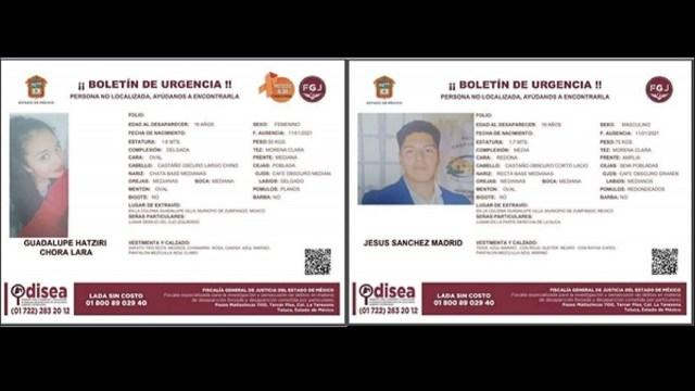 Buscan pareja estudiantes UAEM desaparecidos Edomex