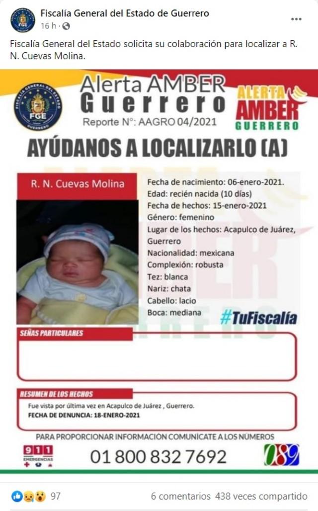 Fiscalía Guerrero bebé desparecida