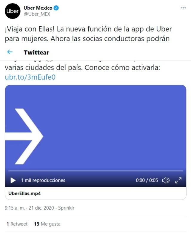 Uber servicio Ellas