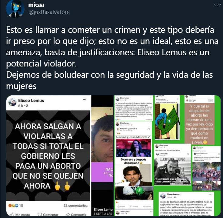 Eliseo Lemus con un post de Facebook en el que invitaba a la violación de mujeres tras la votación a favor del aborto legal en Argentina