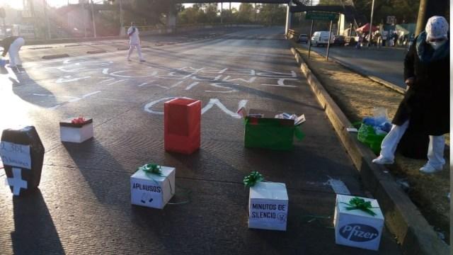 Trabajadores de Salud bloquean Vallejo, reclaman influyentismo en vacuna Covid-19