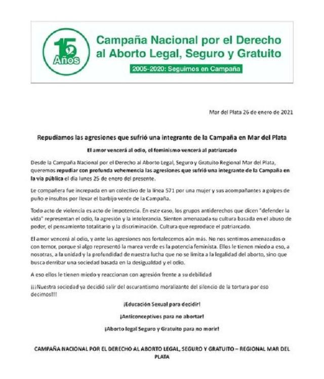 Comunicado Campaña Nacional por el Derecho al Aborto Legal, Seguro y Gratuito Argentina
