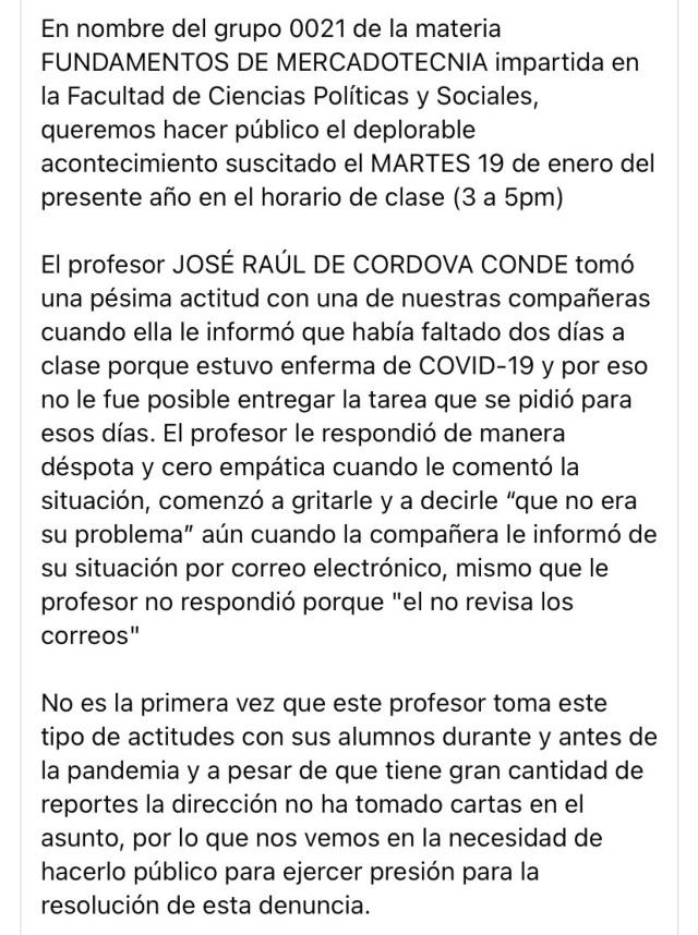 Un profesor de la UNAM maltrató a una alumna por enfermarse de COVID-19