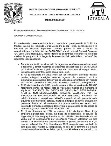 documento 1 médico murió COVID-19 trabajaba sin protección