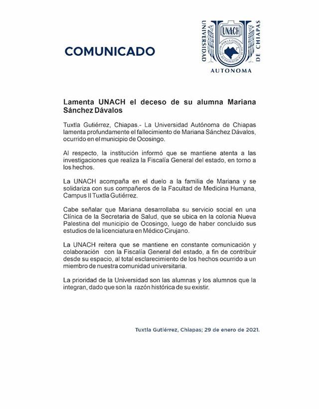 Mariana fue asesinada por asfixia. En redes sociales se hizo viral el #JusticiaParaMariana para exigir se encuentre a los responsables