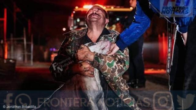 Don Mario lloró al abrazar a su perro.